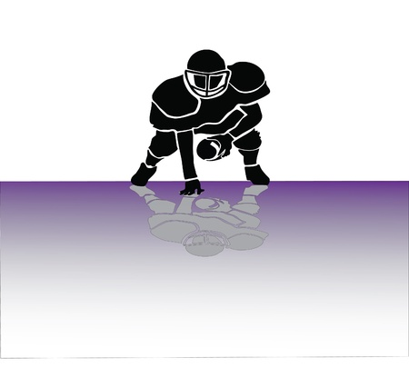 quarterback: Rugby man siloulette in action Illustration