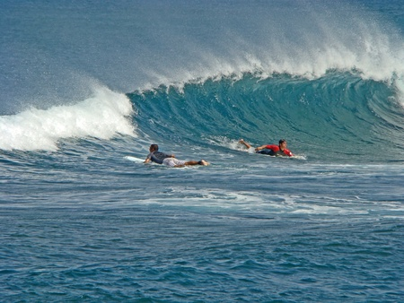 boarders: Tenerife, Canarian Island - October 1, 2011: Surfers on the waves action
