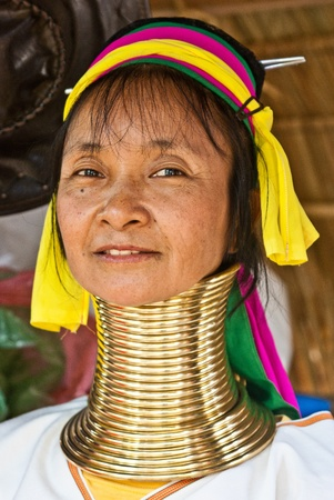 Phuket, Thailand - February 28, 2011: Long Neck - Giraffe Women portrait