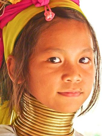 long neck: Phuket, Thailand - February 28, 2011: Long Neck - Giraffe young girl portrait
