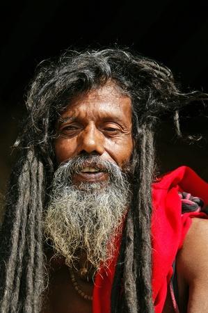 Kathmandu, Nepal - October 10, 2010: Shaiva sadhu portrait Stock Photo - 10911681
