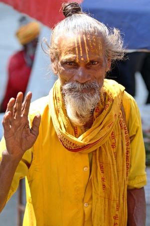 ascetic: Kathmandu, Nepal - October 10, 2010: Shaiva sadhu portrait