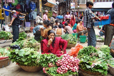Kathmandu, Nepal - October 4, 2010: market on the street Editorial