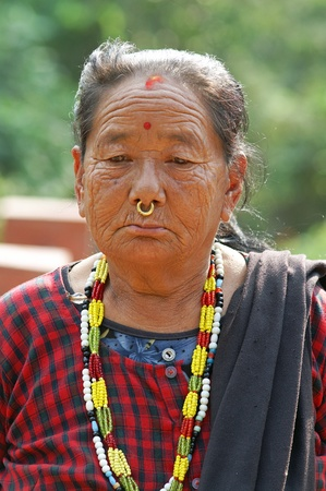 Kathmandu, Nepal - October 3, 2010: woman portrait in national nepalese clothes