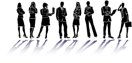 suit case: Business people silhouettes Illustration