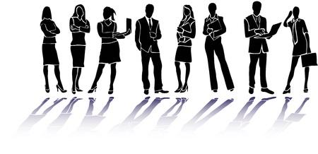 young people group: Uomini d'affari sagome Vettoriali