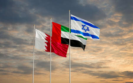 Bahrain UAE Israel flags waving against a cloudy sky background. Bahrain Israel United Arab Emirates signing historic diplomatic deal. Jerusalem Manama Abu Dhabi relations 2020. 3D rendering