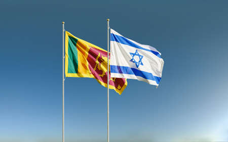 Israel and Sri Lanka flags waving in the wind against a blue sky background. Relations between two countries in economic and diplomatic ways. Banco de Imagens