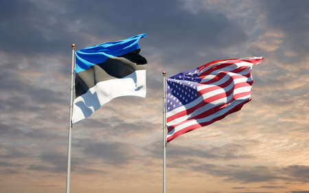 Beautiful national state flags of USA and Estonia together at the sky background. 3D artwork concept.
