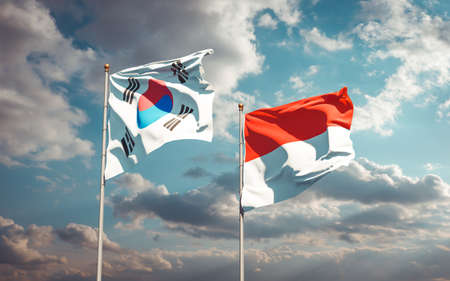 Beautiful national state flags of South Korea and Indonesia together at the sky background. 3D artwork concept.