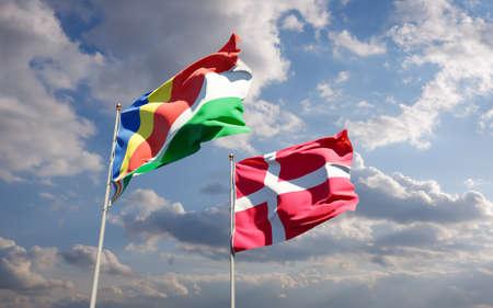 Flags of Seychelles and Denmark. 3D artwork