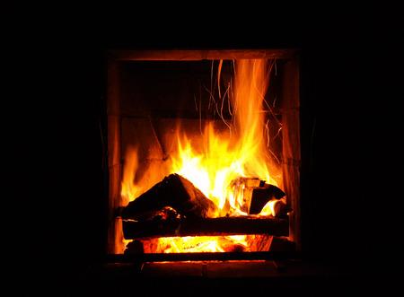 The fireplace burning