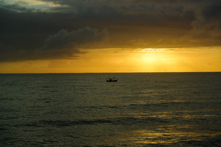 The sunset sky with boat Stock Photo