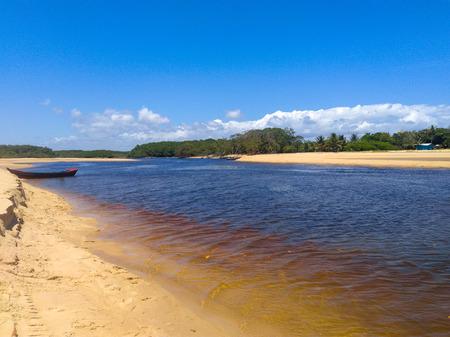 The calm corumbau river Stock Photo