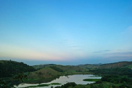 Landscape: Lake and hills (View in Pira? - Rio de Janeiro)
