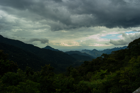 View of mountains in cloudy day