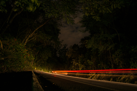 Light trails on highway at night Banco de Imagens