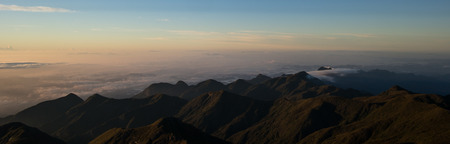 Panoramic sunrise in the mountains Banco de Imagens
