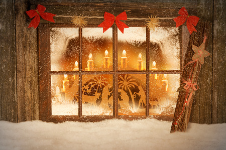 Christmas decorated windows Stock Photo