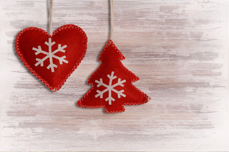 red heart and fir-tree on wooden shabby-style