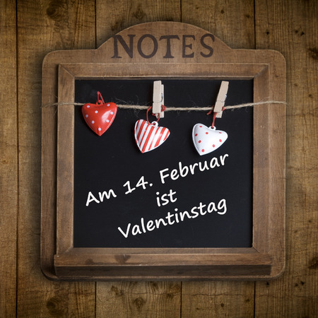 """Slate board with the word  """"On February 14, Valentine"""