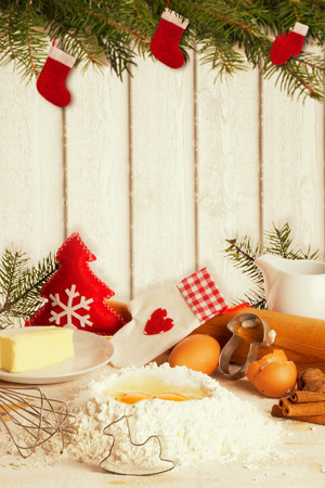 Baking Christmas cookies, presented attractively with Copy Space Zdjęcie Seryjne - 44161744