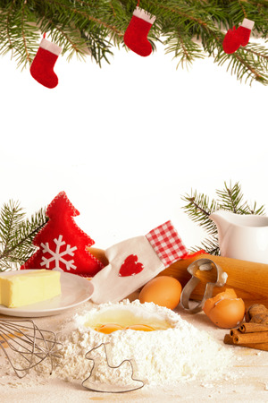 ��copy space �: Baking Christmas cookies,  with Copy Space