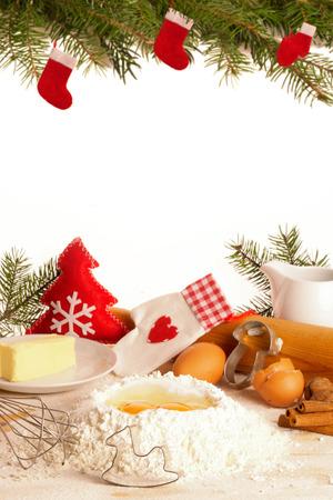 Baking Christmas cookies,  with Copy Space Zdjęcie Seryjne - 44161754