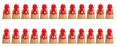 Advent calendar isolated on white background