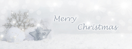 Christmas background with snow crystals, snow and Copy Space