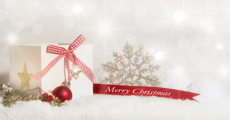 Merry Christmas, in red and white decorated bright background