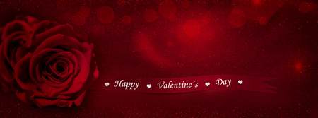 red rose bokeh: Red rose with gift ribbon  banner text (Happy Valentines Day)