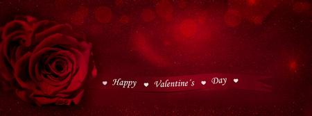 Vörös rózsa ajándék szalag  banner szövege (Boldog Valentin-nap) Stock fotó