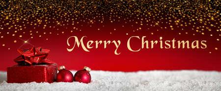 Christmas, Gift, Christmas present, Christmas tree ball, Merry Christmas, Banner, Bokeh, Snow