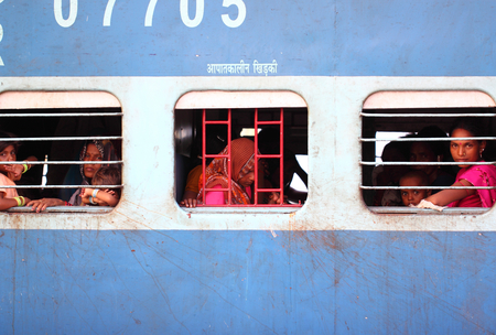 manic: India street view , train, station Editorial