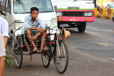 trishaw: Trishaw drivers in Yangon, Myanmar