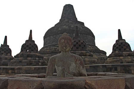 Borobudur temple stupas near Yogyakarta, Java, Indonesia Stock Photo