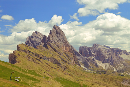 ropeway: Seceda mountain in the Dolomites Italy Stock Photo