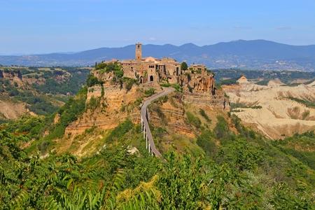 etruscan: Civita di Bagnoregio town in the Province of Viterbo Italy, Stock Photo