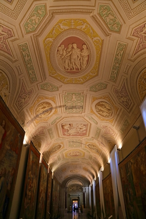 Inside the Vatican Museum one of the largest museums in the world Vatican Galleries frescoes. Italy.