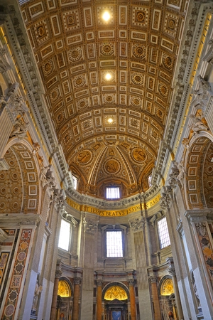 Interior of the Saint Peter`s Basilica in the Vatican in Rome, Italy