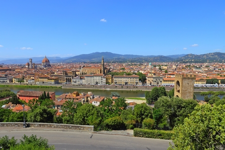 michelangelo: Beautiful view of Florence from Piazzale Michelangelo, Florence, Italy. Stock Photo