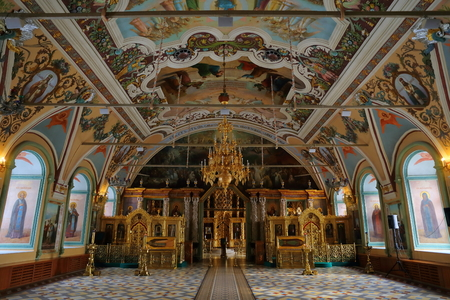 Interior of the Church of St. Sergius (Refectory church). Trinity Lavra of St. Sergius, Sergiyev Posad, Russia