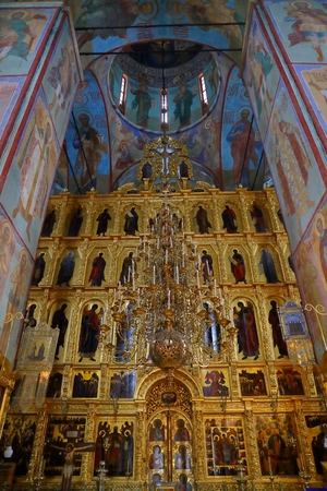 Interior Of Dormition - Assumption Cathedral. in the Trinity Lavra of St. Sergius
