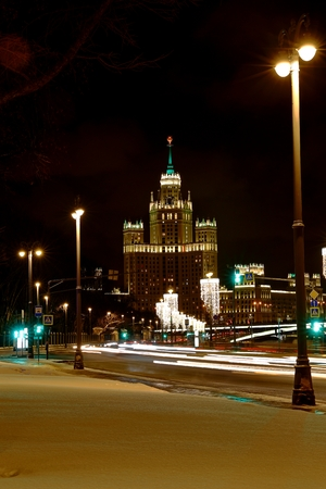Kotelnicheskaya Embankment Building One of the Moscow Seven Sisters at night Moscow Russia Reklamní fotografie