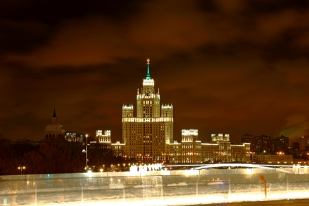 Kotelnicheskaya Embankment Building One of the Moscow Seven Sisters at night Moscow Russia Redakční