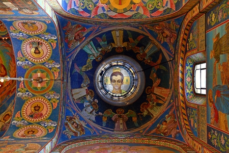 Interior of the church of the Savior on Spilled Blood, St Petersburg Russia Editorial