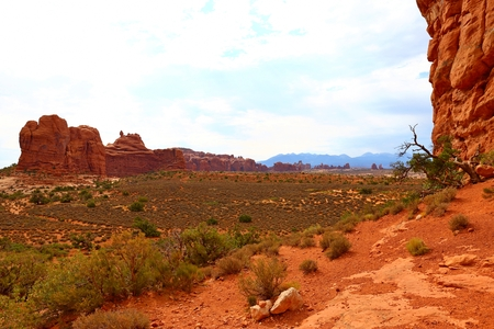 Beautiful landscape in natural colors at Arches National Park in Utah, US