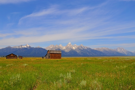 Barn on Mormon Row in Grand Teton National Park, WY 스톡 콘텐츠