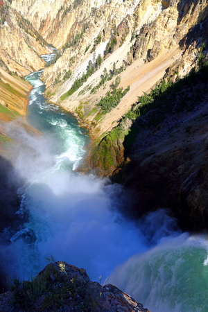 Brink of lower falls, Grand Canyon of Yellowstone National Park, Wyoming, USA